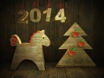 ξύλινο άλογο, νέα ευχετήρια κάρτα 2014 έτους Στοκ Φωτογραφίες