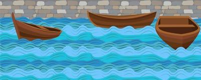 Ξύλινο απλό σκάφος τρία βαρκών βαρκών στο θαλασσο-ποταμίσιο ωκεανό νερού wav Στοκ εικόνες με δικαίωμα ελεύθερης χρήσης