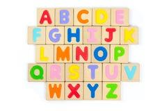 Ξύλινο αλφάβητο ABC, αγγλικές επιστολές Στοκ Εικόνες