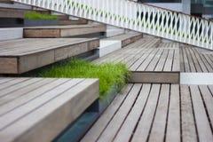 Ξύλινο βήμα με τη χλόη, σκαλοπάτι Στοκ Εικόνα