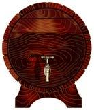 Ξύλινο βαρέλι με τη στρόφιγγα, διάνυσμα Στοκ Φωτογραφίες