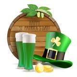Ξύλινο βαρέλι, λυκίσκοι, πράσινο καπέλο, πράσινη μπύρα και χρυσά νομίσματα Στοκ Εικόνα