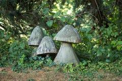 Ξύλινο γλυπτό μανιταριών στο πάρκο Στοκ Φωτογραφίες