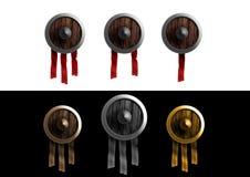 Ξύλινο εικονίδιο ασπίδων Στοκ Φωτογραφίες