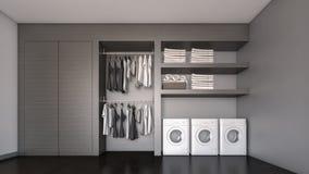 Ξύλινο εισαγώμενο ντουλάπι/τρισδιάστατη απόδοση Στοκ Εικόνες