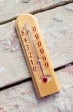 Ξύλινο θερμόμετρο δωματίων στους πίνακες με το τσιμέντο Στοκ Εικόνες