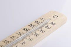 Ξύλινο θερμόμετρο Στοκ Εικόνες