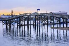 Ξύλινο λιμενικό πολιτεία της Washington Westport Grays γεφυρών Στοκ εικόνες με δικαίωμα ελεύθερης χρήσης