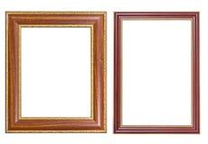 Ξύλινο και χρυσό ύφος πλαισίων Στοκ Εικόνες