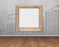 Ξύλινο κενό πλαισίων whiteboard με τα κτήρια σύννεφων ήλιων doodles Στοκ Εικόνες