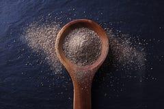 Ξύλινο κουτάλι με τη μαύρη σκόνη πιπεριών Στοκ εικόνες με δικαίωμα ελεύθερης χρήσης