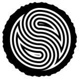 Ξύλινο κούτσουρο που κόβεται με το yin και yang το σύμβολο διανυσματική απεικόνιση