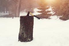 Ξύλινο κολόβωμα καυσόξυλου τσεκουριών Στοκ Εικόνα