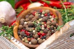 Ξύλινο κύπελλο με τα ανάμεικτα ξηρά πιπέρια, καρυκεύματα, εκλεκτική εστίαση Στοκ φωτογραφία με δικαίωμα ελεύθερης χρήσης