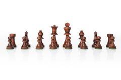 Ξύλινο μαύρο σύνολο σκακιού Στοκ εικόνα με δικαίωμα ελεύθερης χρήσης