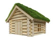 Ξύλινο μικρό σπίτι με τη χλοώδη στέγη Ελεύθερη απεικόνιση δικαιώματος