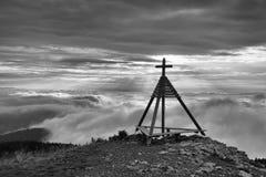 Ξύλινο μνημείο σε Gerlitzen Apls, Αυστρία Στοκ Εικόνες