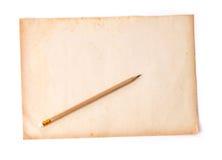 Ξύλινο μολύβι σε παλαιό χαρτί ρύπου Στοκ Εικόνες