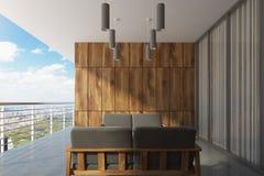 Ξύλινο μπαλκόνι με ένα πανοραμικό παράθυρο, γκρίζο απεικόνιση αποθεμάτων