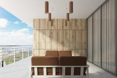 Ξύλινο μπαλκόνι με ένα πανοραμικό παράθυρο, καφετί ελεύθερη απεικόνιση δικαιώματος