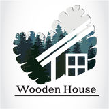 Ξύλινο λογότυπο σπιτιών Στοκ Εικόνα