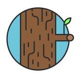 Ξύλινο λογότυπο στον κύκλο Στοκ εικόνα με δικαίωμα ελεύθερης χρήσης