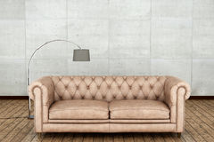 Ξύλινο πάτωμα και άσπρο δωμάτιο τοίχων τρισδιάστατη απόδοση Στοκ εικόνα με δικαίωμα ελεύθερης χρήσης