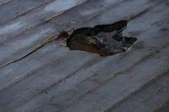Ξύλινο πάτωμα με τη σύσταση τρυπών Στοκ φωτογραφία με δικαίωμα ελεύθερης χρήσης