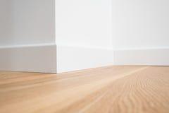 Ξύλινο παρκέ πατωμάτων και άσπροι τοίχοι Στοκ Φωτογραφία