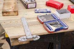 Ξύλινο πρόγραμμα εργασίας εργαλείων ξυλουργικής στοκ εικόνα