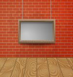 Ξύλινο πλαίσιο στο υπόβαθρο τουβλότοιχος Στοκ εικόνες με δικαίωμα ελεύθερης χρήσης
