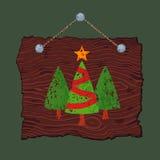 Ξύλινο σημάδι με τα δέντρα Στοκ εικόνες με δικαίωμα ελεύθερης χρήσης