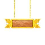 Ξύλινο σημάδι με τη χρυσή ένωση πλαισίων σε μια αλυσίδα που απομονώνεται στο λευκό Στοκ Φωτογραφία