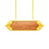 Ξύλινο σημάδι με τη χρυσή ένωση πλαισίων σε μια αλυσίδα που απομονώνεται στο λευκό Στοκ φωτογραφία με δικαίωμα ελεύθερης χρήσης