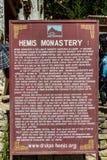Ξύλινο σημάδι στο φεστιβάλ 2014 Hemis στο μοναστήρι Hemis Στοκ Εικόνα