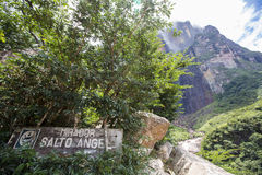 Ξύλινο σημάδι στο Mirador του αγγέλου Salto Στοκ εικόνες με δικαίωμα ελεύθερης χρήσης