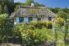Ξύλινο σπίτι εξοχικών σπιτιών και ένας κήπος Στοκ Εικόνα