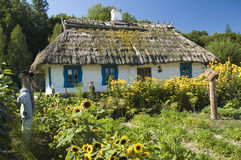 Ξύλινο σπίτι εξοχικών σπιτιών και ένας κήπος Στοκ Εικόνες