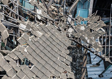Ξύλινο σπίτι καταστροφών Στοκ εικόνα με δικαίωμα ελεύθερης χρήσης