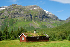 Ξύλινο σπίτι με την πράσινος-στέγη κάτω από το βουνό Στοκ εικόνα με δικαίωμα ελεύθερης χρήσης