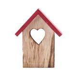Ξύλινο σπίτι πουλιών διακοσμήσεων Χριστουγέννων Στοκ Εικόνα