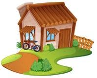 Ξύλινο σπίτι στο λόφο διανυσματική απεικόνιση