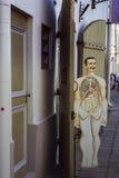Ξύλινο σχεδιάγραμμα, άτομο παλαιά Ταλίν πόλη της Εσθο Στοκ Φωτογραφίες