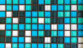 Ξύλινο τετραγωνικό σχέδιο, μπλε, πράσινος, άσπρο Στοκ Εικόνες