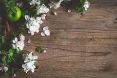 Ξύλινο υπόβαθρο με τα άσπρα άνθη και τα πράσινα μήλα Στοκ Εικόνες