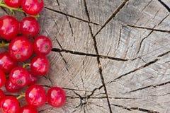 Ξύλινο υπόβαθρο με τα μούρα κόκκινων σταφίδων Στοκ εικόνες με δικαίωμα ελεύθερης χρήσης