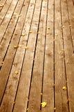 Ξύλινο υπόβαθρο με τα φύλλα σφενδάμου το φθινόπωρο Στοκ Φωτογραφία