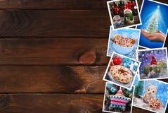 Ξύλινο υπόβαθρο με τη συλλογή εικόνων Χριστουγέννων Στοκ Εικόνες