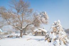 Ξύλινο χιόνι σπιτιών Στοκ Εικόνες