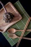 Ξύλινο Chopsticks σύνολο κουταλιών Στοκ Φωτογραφίες